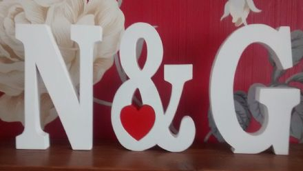 Large wooden letters with & sign, wooden numbers